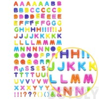 Rainbow Colored Alphabet ABCs Shaped Jelly Typography Stickers for Scrapbooking and Decorating