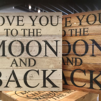 "Love You To The Moon And Back - Reclaimed Wall Art 14""x14"" - Natural"