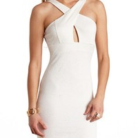 Rose Embossed X-Front Bodycon Dress