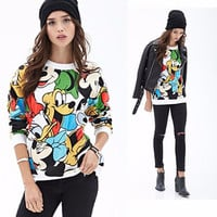 White Cartoon Character Print Sweater