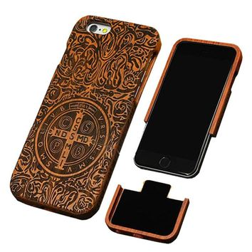Genuine Natural Wooden Carved  Case For iPhone 7 6 6s Plus SE 5 5s Rosewood Bamboo Cherry Blank Cover