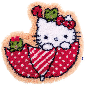 Vervaco Shaped Rug Latch Hook Kit 21.25X22-Hello Kitty In The Umbrella