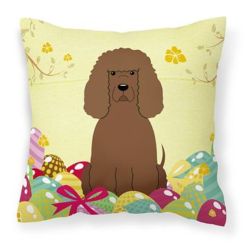 Easter Eggs Irish Water Spaniel Fabric Decorative Pillow BB6063PW1414