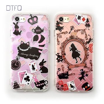 DTFQ Anti-knock TPU Soft Cover Embossed Printing Alice in Wonderland Cheshire Cat Cartoon Phone Case for iPhone 6 6s 7 7 Plus 8