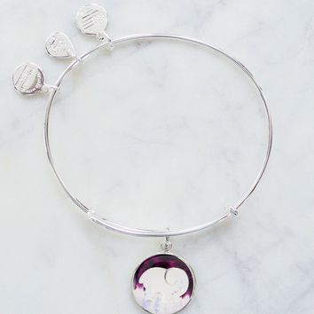 ALEX AND ANI Silver Ombre Charm Bangle