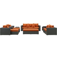 Sojourn 9 Piece Outdoor Patio Sectional Set Sunbrella Canvas Tuscan