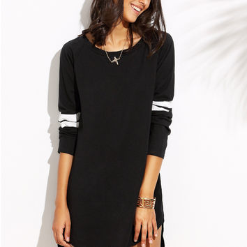 Black Curved High-Low Jersey Dress