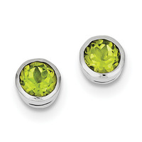 Sterling Silver Rhodium-plated Peridot Circle Stud Earrings