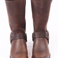 USED FRYE MENS BOOTS HARNESS CHOCOLATE SIZE 10.5