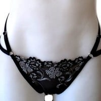 Bloom Thong. Embroidered Lingerie. Strappy Knickers. Harness Thong
