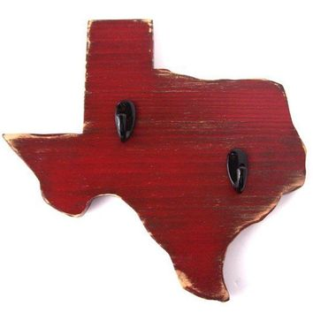Texas  wood wall key hook CORONA RED by OldNewAgain on Etsy