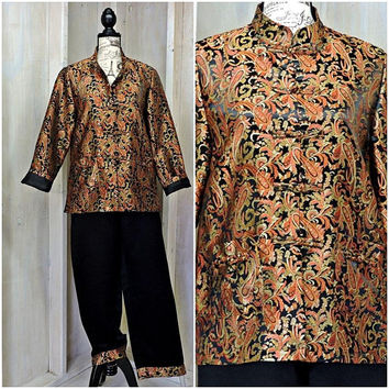 Kimono pantsuit / Asian silk pants suit / Mandarin jacket /  Chinese lounge suit / size 8 / 10