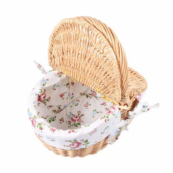 Vintage Style Marketing Basket, Flower Basket, Wicker Basket Willow and Cloth Basket With Lid And Handle
