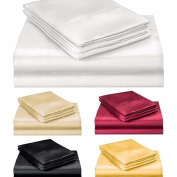 ELEGANTE COLLECTION ULTRA PURE SOFT SILKY SATIN 4PC QUEEN BED SHEET SET 5 COLORS
