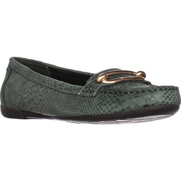 Anne Klein Noris Penny Loafer Flats, Medium Green Reptile, 5.5 US