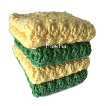 Handmade Dishcloths Set of 4 Green Pale Yellow Wash Cloths Crochet Kitchen Dish Cloths Eco Friendly Cotton