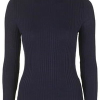 Ribbed Roll Neck Sweater - Navy Blue