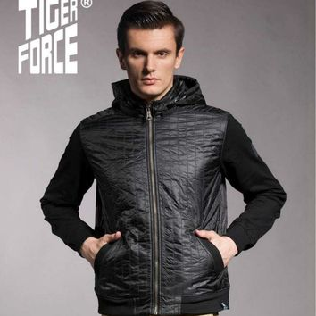 TIGER FORCE 2016 New Design Men Fashion Padded Jacket Casual Black Padding Cotton Jacket Coat With Hood Free Shipping 5562