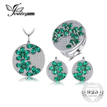 Created Emerald Jewelry Set Genuine 925 Sterling Silver Ring Necklace Pendant Earring
