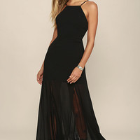 Listen to the Rain Black Lace Maxi Dress