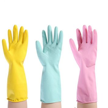Household Rubber gloves colorful ultra thin solid color long sleeve glove for women 520005