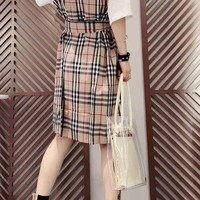 """Burberry"" Woman Casual  Wild Fashion Letter Printing Spell Color Short Sleeve Long Skirt"
