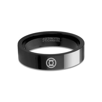Green Lantern Symbol Laser Engraved Black Tungsten Wedding Band