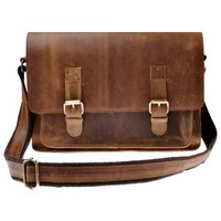 ZLYC Vintage Handmade Men Leather Messenger Shoulder Bag Briefcase Fit 15 Inch Laptop, Brown
