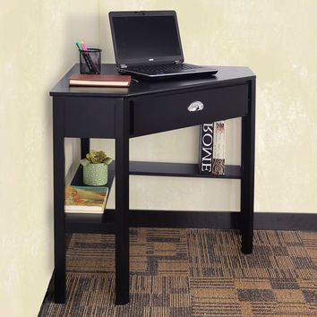 Black Solid Wood Corner Desk With Drawer And Shelves