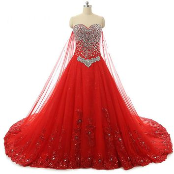 Vintage Sweetheart Neck Lace Up Long Wedding Dresses Tulle Appliques Bead A Line Wedding Dress