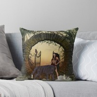 'Dark fairy with wolf' Throw Pillow by nicky2342