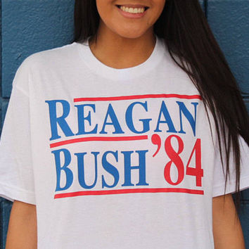 Reagan Bush '84, George Bush, Ronald Reagan, Political T-shirt, Politics, Republican, Democrat, Custom T-shirts