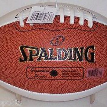 SPALDING AUTOGRAPH SIGNATURE SERIES FULL SIZE FOOTBALL 3 WHITE 1 BROWN PANEL