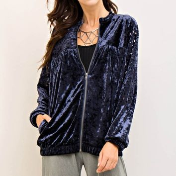Crushed Velvet Zipper Jacket
