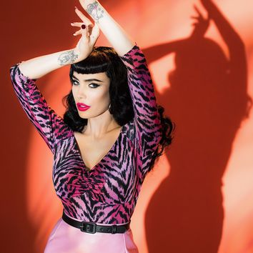 Deadly Dames Jailbird Top in Pink Tiger