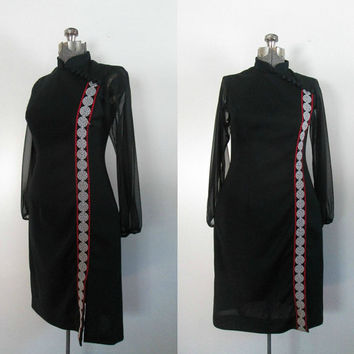 1960s Black Asian Style Dress Sheer Chiffon Long Sleeves Large Size