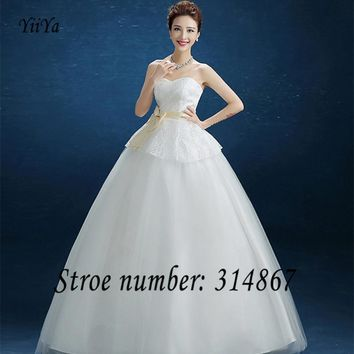 Free Shipping Wedding Dresses Sexy Lace up Brial Gowns Strapless Wedding Frocks Wedding Dress Low price Vestidos De Novia DL004