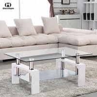 Rectangular Glass Coffee Table Shelf Chrome White Wood Living Room Furniture
