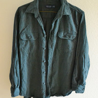 Dark Green Soft Flannel Button Down Shirt Oversized 90s Vintage L