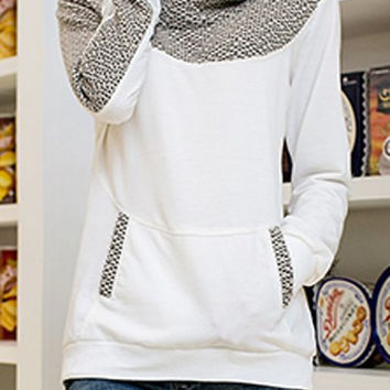White Printed Long Sleeve and Pocket Sweater with Hood
