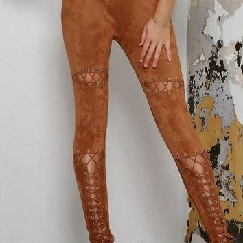 Lala Skinny Faux Suede Pant