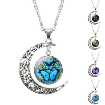 Moon butterfly pendant Moon Necklaces  cabochon glass necklace