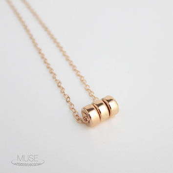 Rose Gold Bead Necklace - Three Bead Necklace, Gold Filled Necklace, Dainty Rose Gold Necklace, Delicate Necklace, Rose Gold Jewelry