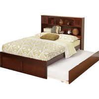 Newport Bookcase Bed Twin Bed Flat Panel Footboard Urban Trundle Bed Antique Walnut Finish