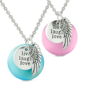 Guardian Angel Wing Live Laugh Love Amulets Couples Pink Blue Simulated Cats Eye Necklaces