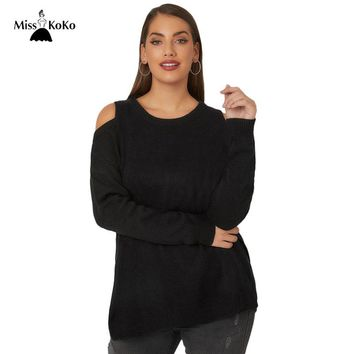 Knitted Sweater Cold Shoulder Casual Lady Sweater