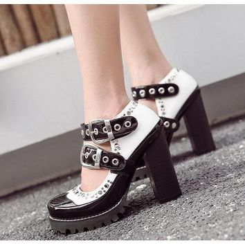 Rivets Straps Patchwork Platform High Chunky Heels Casual Autumn Shoes