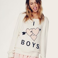 I LOVE BOYS - BAGGY BEACH JUMPER at Wildfox Couture in  PRL, SHBRT