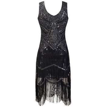 Plus   Party Dress Robe Femme 1920s Gatsby Flapper Sequin Tassel Embroidery Midi Summer Dress  Vestidos De Festa