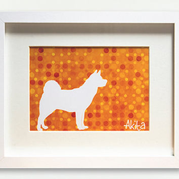 Modern Silhouette Akita Dog Print Design by WagAvenue on Etsy